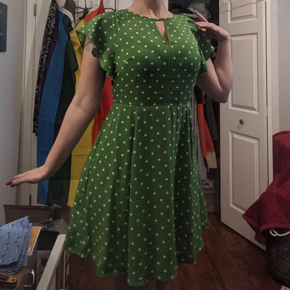 Green and White Polka Dot Dress